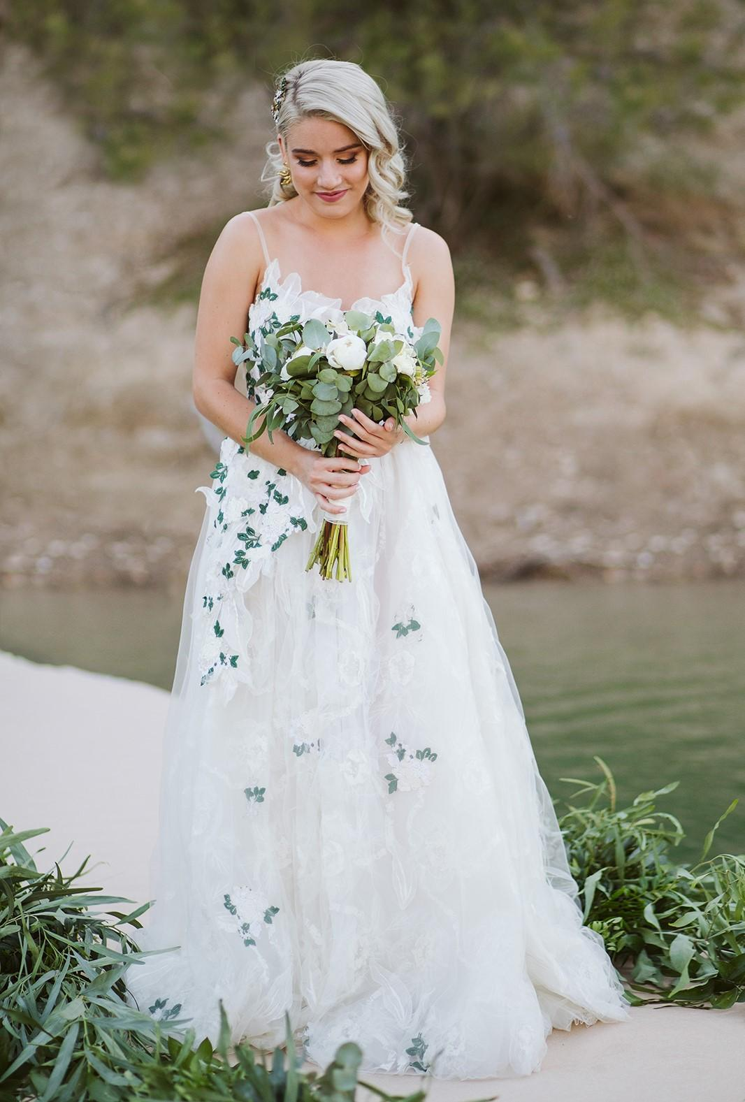 White and Green Bridal Dress